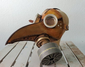 Punk Leather Gas Mask Plague Doctor Mask with 2 filters -One of a kind!