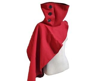 Cyberpunk High Collar Asymmetrical Shoulder Cape in Red