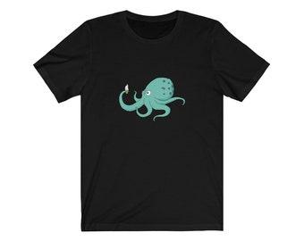 Curious Octopus Cartoon Unisex Tshirt