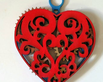 Kinetic Heart Pendant Necklace Statement Piece with Moving Gears!