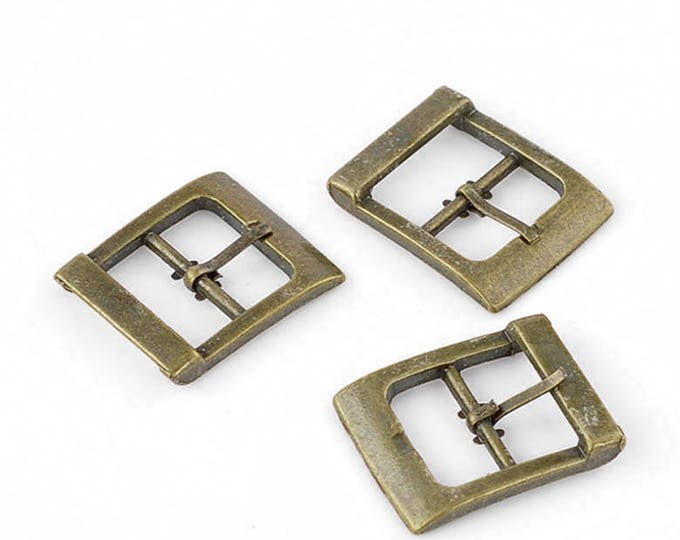 Steampunk Leather working Bronze Colored Metal Buckles Set of 4