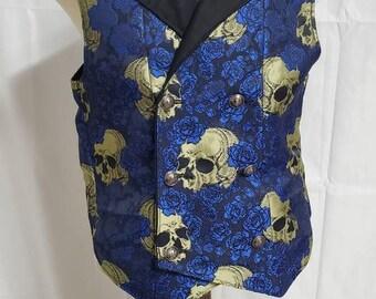 Elegant Gothic Skull and Rose Vest size 40