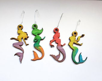 Hand painted Coastal Christmas Watercolor Mermaid Ornaments