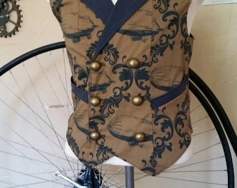 Custom Made Steampunk Airship Double Breasted Vest with Pockets- Lord and Lady Towers Exclusive Fabric!
