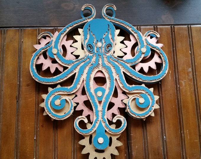 Large Geared Kinetic Movable Octopus Wall Mount for Steampunk, Shabby Chic, or Industrial Nautical Home Decor