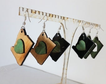 I Love Oregon Earrings - Oregon State heart! All Organic Wood!