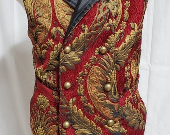 Red and Gold Tapestry Brocade Steampunk Vest Size 44 chest