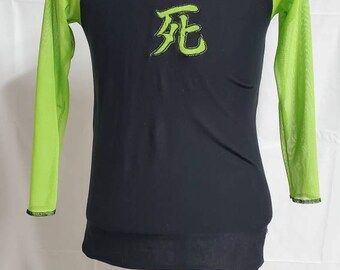 Street Fashion Style Cyberpunk  Death Japanese Kanji Raglan Mesh Shirt Size Medium