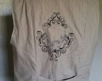 "Steampunk Filigree Skull Waistcoat Vest Size 38"" chest"