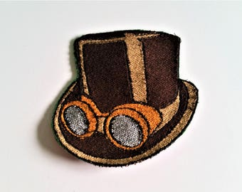 Steampunk Goggle and Top Hat Machine Embroidery File Instant Download