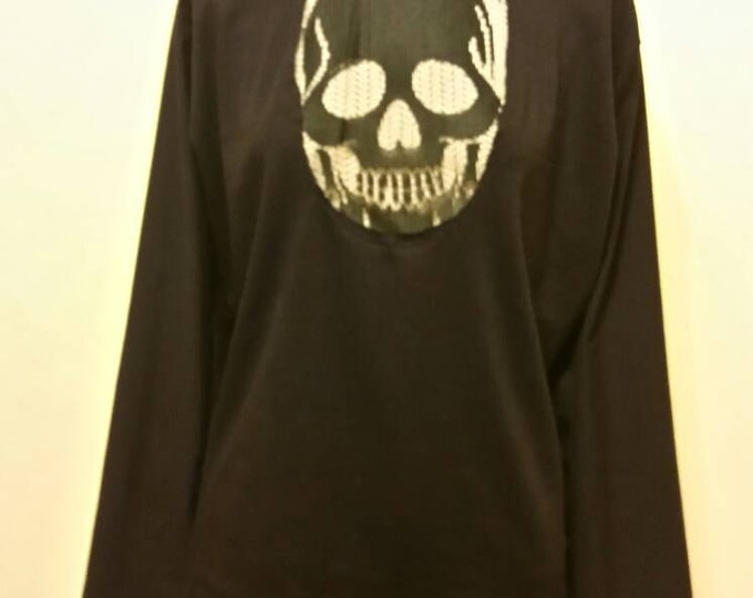 Wicked Lace Skull Long Sleeve Goth Peekaboo Shirt