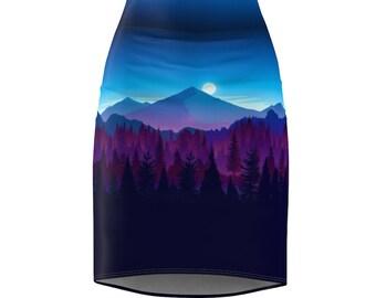 Oregon Inspired Artistic Night Forest Skirt