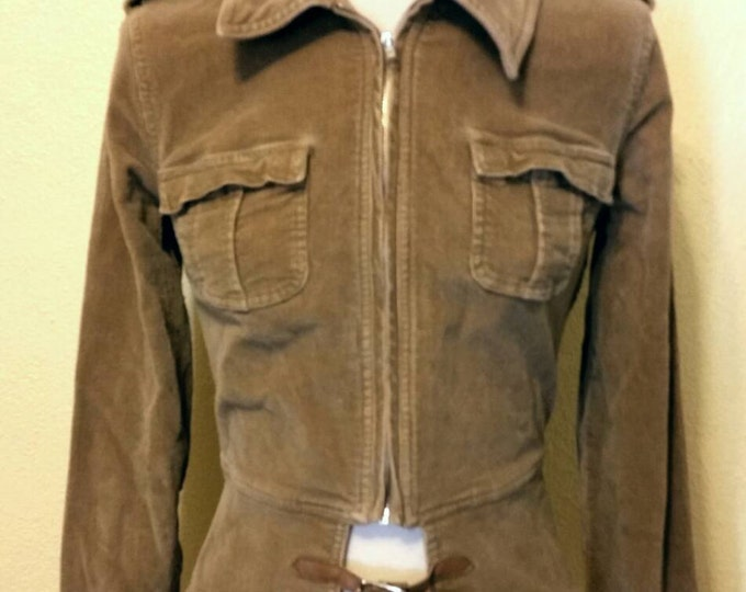 Amazing Diesel Punk / Steampunk Belted Tan Corduroy Jacket in Size Small