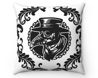Plague Doctor Filigree Accent Throw Pillow for Gothic Home Decor