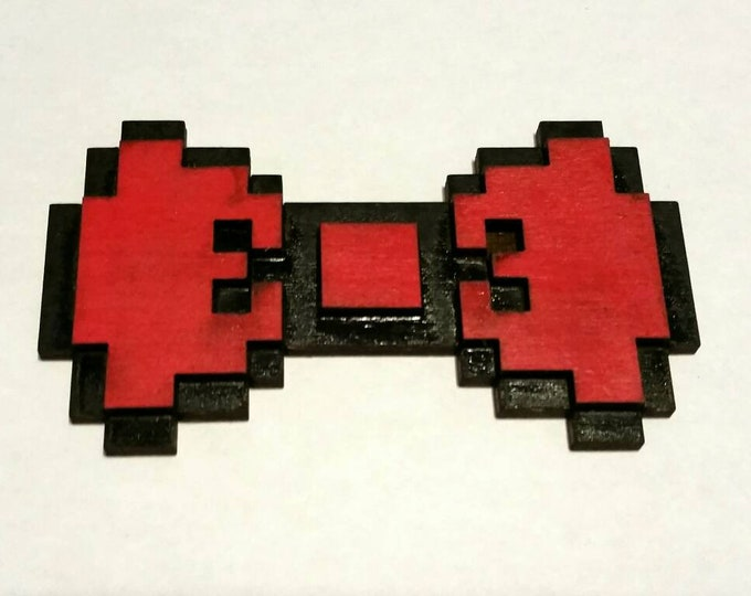 3D Wood 8 Bit Hair Bows -Video Game Geek Nintendo Anime Fandom Inspired! Red, Blue, Yellow, Green, and Purple with clips or barrettes