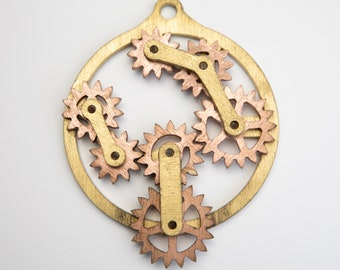 Steampunk Kinetic Floating Gear Machine Pendant.