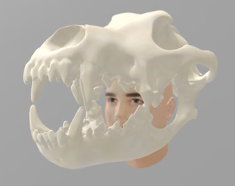 Download only Wolf Skull Helmet 3d Print STL Files for Cosplay and Post Apocalyptic Wasteland. *STL file only*