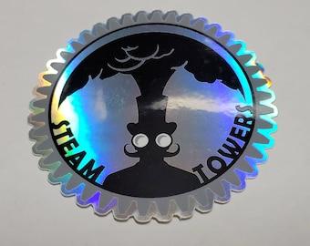 Holographic Steampunk Gear Steamtowers Sticker