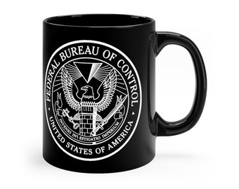 FBC Federal Bureau of Control Video Game Inspired Black Coffee Mug