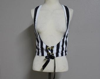 Tim Burton Inspired Gothic Black and White Striped Underbust Vest Size Medium
