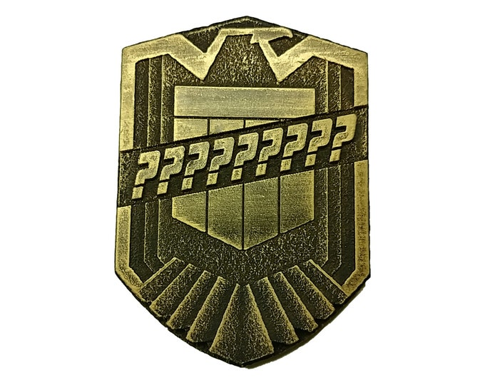 Featured listing image: Custom Judge Dredd Badge Made of High Quality Wood