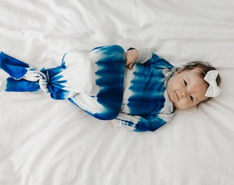 c99f8efbc Blue Tie Dye Baby Gown - knotted knit gown, knotted sleeper, baby gown,  baby sleeper