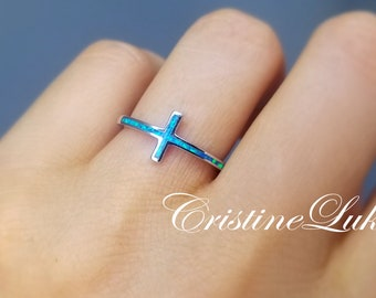 Blue Opal Cross Ring, Dainty Cross Ring Crafted in Sterling Silver, Religious Ring, Stacking Cross Ring.