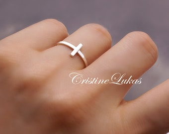 Rope Ring Sterling Silver Celebrity Style Sideways Cross Ring with Twisted Rope Design Yellow or Rose Gold