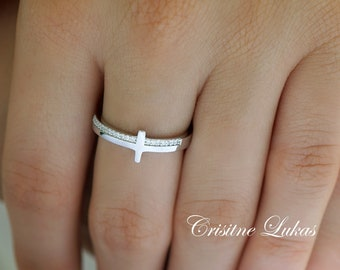 Sterling Silver Sideways Cross Ring With Clear Cubic Zirconia Stones, Mini Cross Ring, Stackable Ring in Sterling, Yellow or Rose Gold.