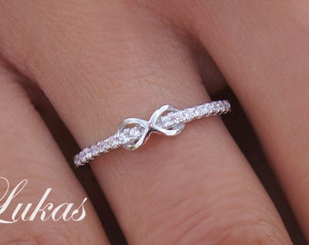 Infinity Ring With Clear CZ Stones - Criss Cross Infinity Ring, Stackable Ring - Sterling Silver, Yellow Gold or Rose Gold Infinity Ring