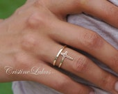 Celebrity Style Cross Ring - Double Wrap Cross, By-Pass Cross Ring - Yellow Gold, Rose Gold or Sterling Silver
