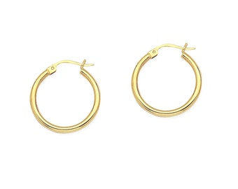 25b240dc1 10K or 14K Solid Gold Hoop Earrings in Yellow, Rose or White Gold - Small  Hoop Earrings, Fine Jewelry Earrings For Kids Or Adult