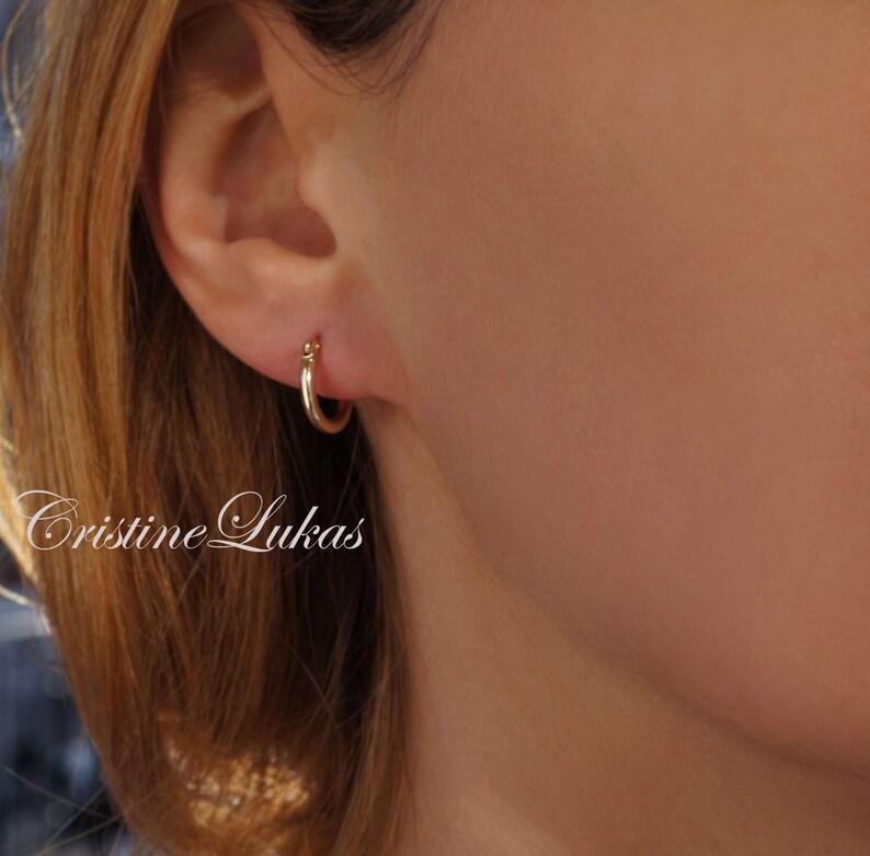 137c1de68 10K or 14K Solid Gold Earrings Classic Hoop Earrings Small | Etsy