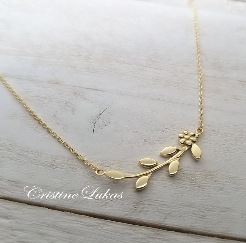 0ff53774a 10K 14K or 18K Dainty Olive Branch Necklace with Leaves &   Etsy