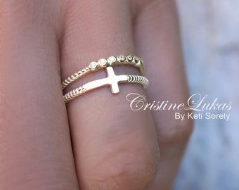 10K, 14K or 18K Solid Gold Stacking Ring Set w/ Sideways Cross & CZ Stone Ring - Twisted Rope Dainty Cross Ring Set, Yellow Gold, Rose Gold