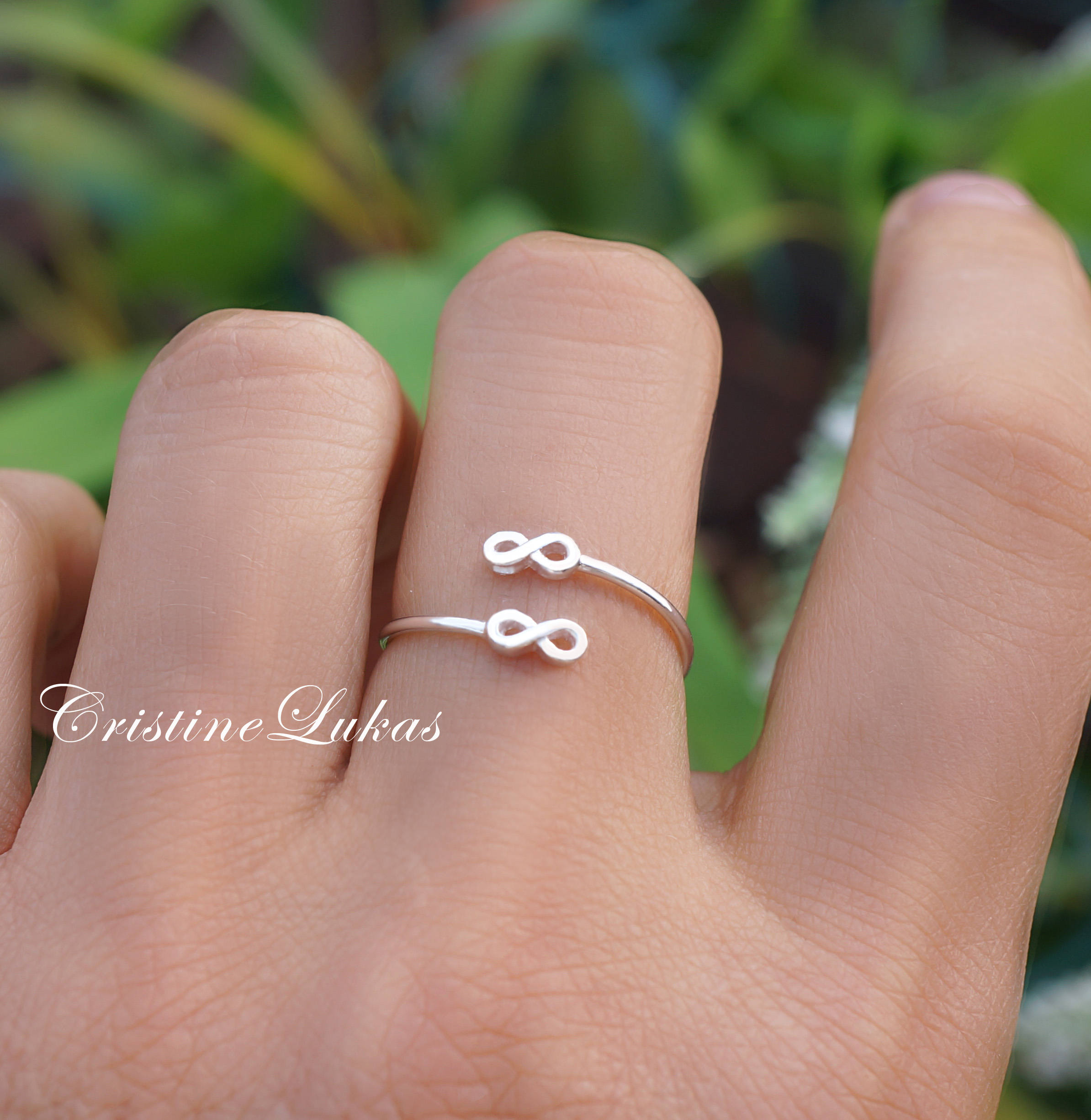 Solid 10k Rose Gold Dainty Band Heart Infinity Ring