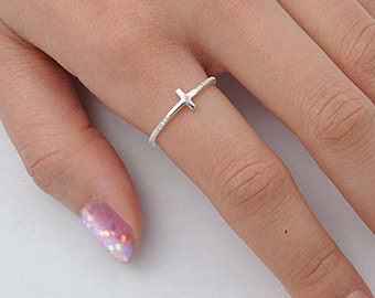Celebrity Style Sideways Cross Ring with Twisted Rope Design - Sterling Silver, Yellow or Rose Gold - Braided Rope Ring