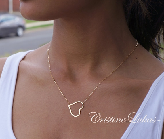 14k Solid Gold Large Open Heart Pendant Charm