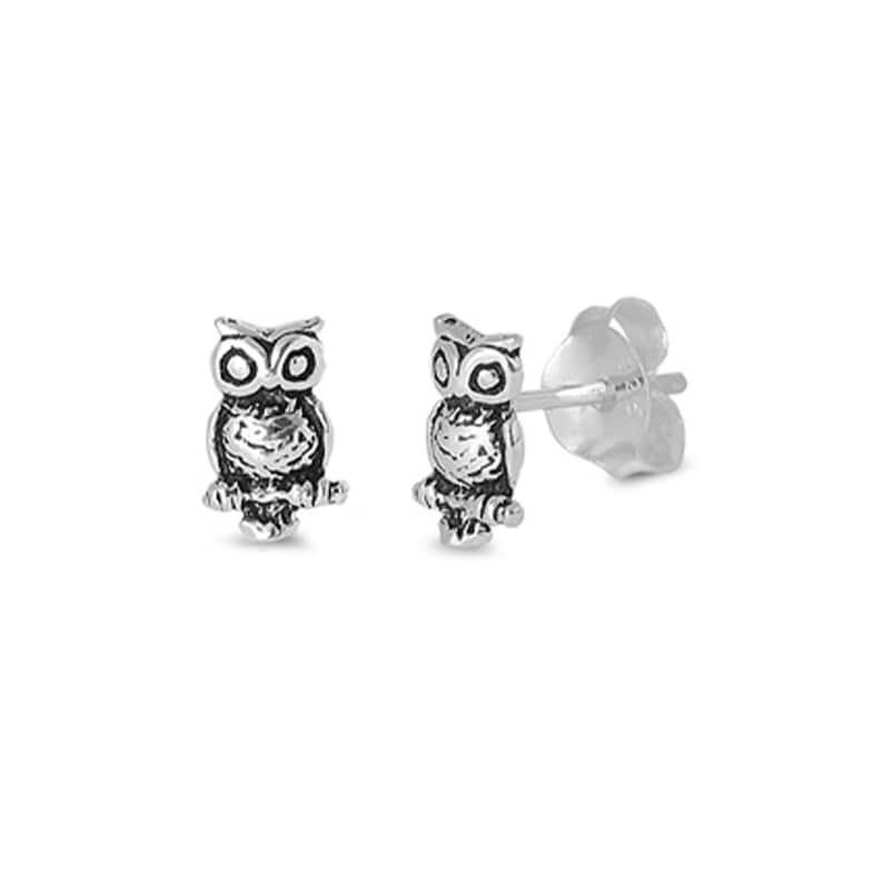 c4b5d04f0 Dainty Owl Earrings Stud Earrings in Sterling Silver Yellow | Etsy