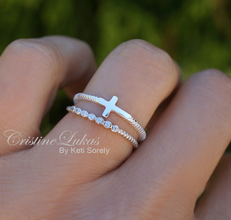 Sideways Cross Ring with CZ Stone Ring  Stacking Ring Set image 1