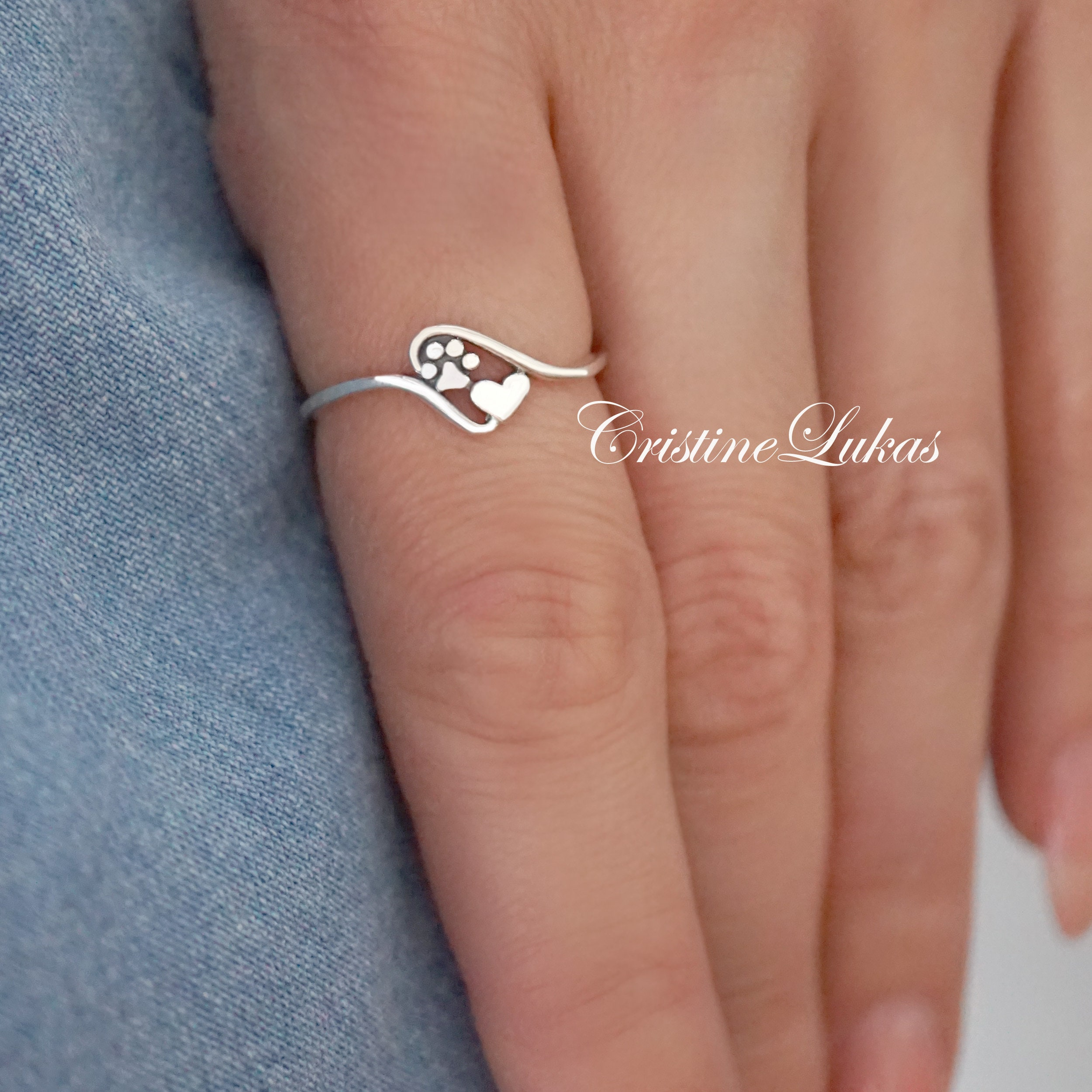 cat and heart print. Silver Ring Dog