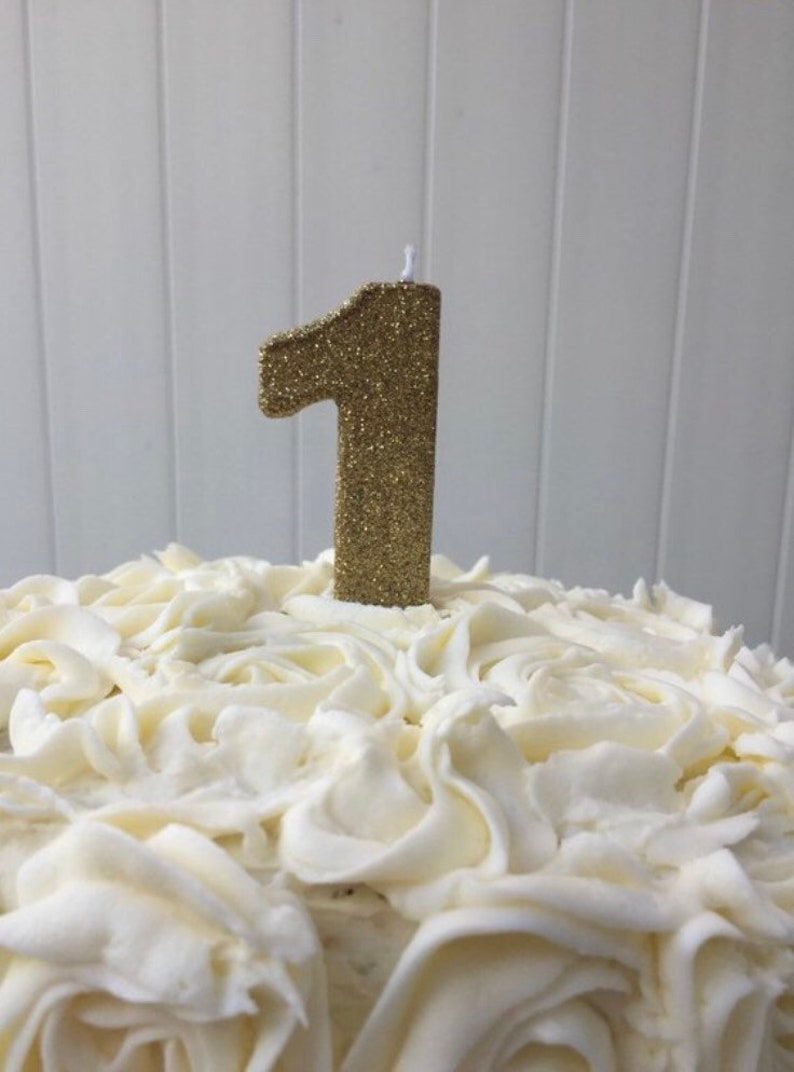 Gold Glitter Birthday Candle Number 1