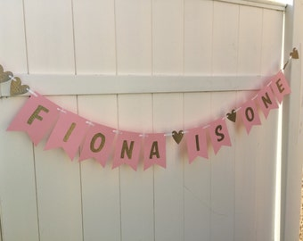 light pink and gold - first birthday banner