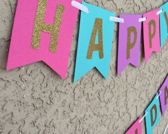 hot pink , teal , purple and gold glitter happy birthday banner