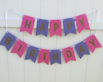 Bright pink and purple with  gold glitter happy birthday banner