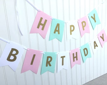 Pink, teal , white and gold glitter happy birthday banner