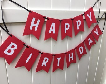 Happy birthday banner - Red and white with black ribbon