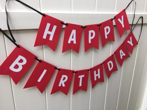 Happy Birthday Banner Red And White With Black Ribbon Etsy