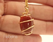 Carnelian Crystal wire wrapped necklace w. 16k gold plated chain. Non tarnish jewelry.