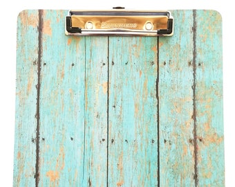 Barnwood Clipboard Teal Barnwood Office Desk Accessory Teacher Gift Clipboard Decorative Large Teal Clipboard Pretty Office Clipboard